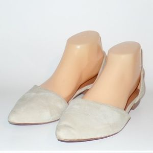 & Other Stories Cream Leather Pointed Toe Flats 9